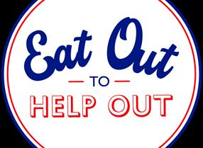 HMG eat out to help out blue and white text logo