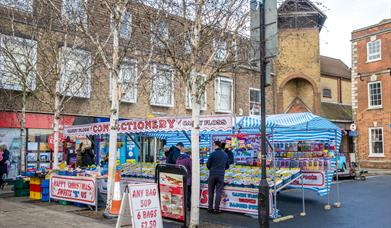 An image of the sweet stall at Braintree Market in Great Square.